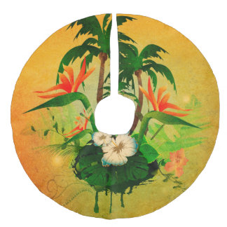 Tropical design with flowers and palm trees faux linen tree skirt