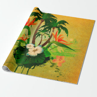 Tropical design with flowers and palm trees wrapping paper