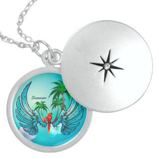 Tropical design with parrot and flowers locket