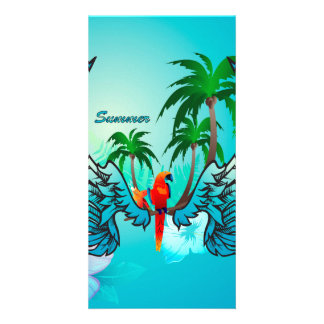 Tropical design with parrot and flowers picture card
