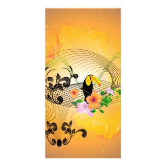 Tropical design with toucan and flowers photo greeting card