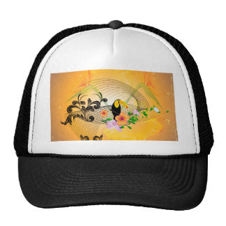 Tropical design with toucan trucker hats