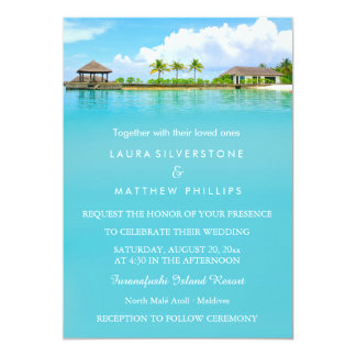 Tropical Destination Resort Beach Wedding Card