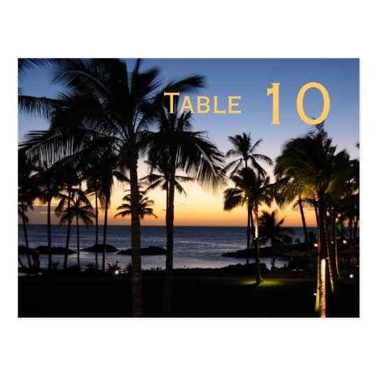 Tropical Destination Table Number Postcard