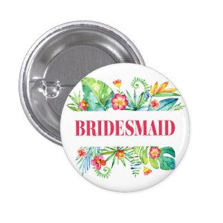 Tropical Destination Wedding Bridesmaid 3 Cm Round Badge