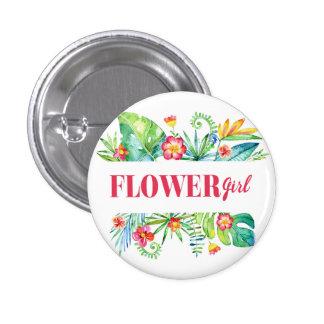 Tropical Destination Wedding Flower Girl 3 Cm Round Badge