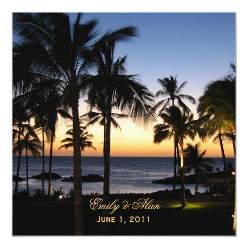 Tropical Destination Wedding Invitations 13 Cm X 13 Cm Square Invitation Card