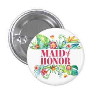 Tropical Destination Wedding Maid of honor 3 Cm Round Badge