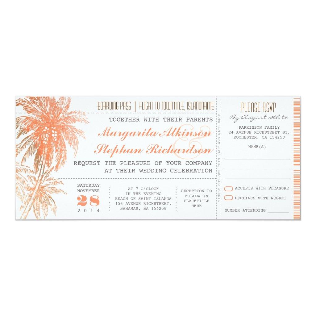 Tropical destination wedding tickets