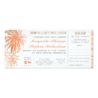 Tropical destination wedding tickets 10 cm x 24 cm invitation card