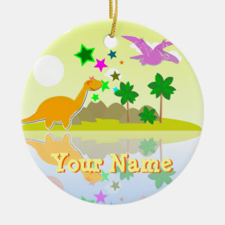 Tropical Dinosaur Island Ornament with Name