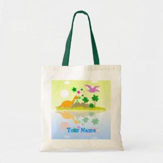 Tropical Dinosaurs Island Name Bag/ Tote Budget Tote Bag