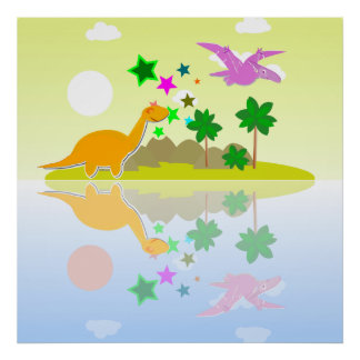 Tropical Dinosaurs Island Poster Print