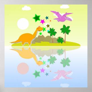 Tropical Dinosaurs Island Poster Print