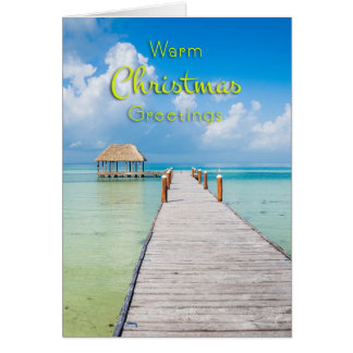 Tropical Dock Warm Christmas Photo Greeting Card
