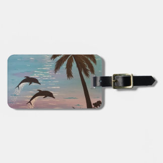 Tropical dolphins luggage tag