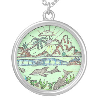 Tropical Dolphins Round Pendant Necklace