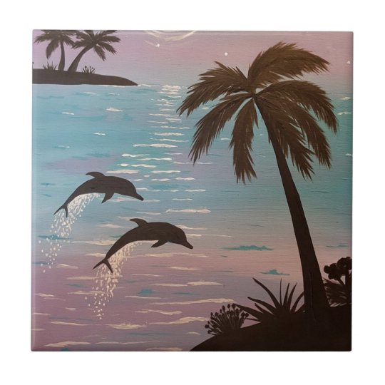 Tropical dolphins small square tile