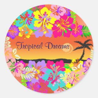 tropical dreams stickers round sticker
