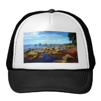 Tropical Dreamy Rocky Beach Mesh Hat