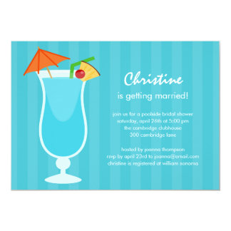 Tropical Drink Bridal Shower or Bachelorette Party 13 Cm X 18 Cm Invitation Card