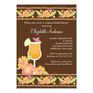 Tropical Drinks Hibiscus Flowers Bridal Shower 13 Cm X 18 Cm Invitation Card