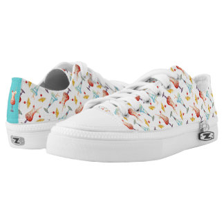 Tropical Drinks & Umbrellas Bright Colors Patten Low Tops