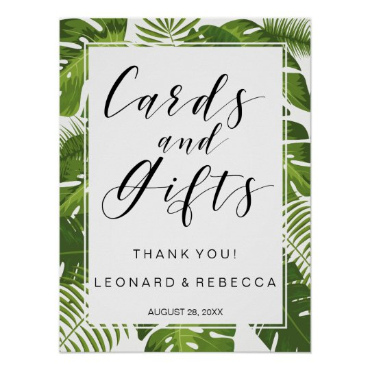 Tropical Elegant Cards and Gifts wedding sign Poster