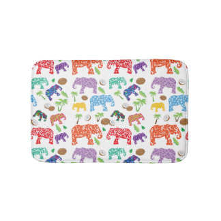 Tropical Elephants Bath Mats
