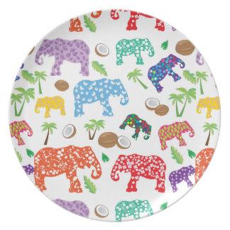 Tropical Elephants Dinner Plate