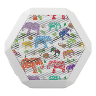 Tropical Elephants White Bluetooth Speaker