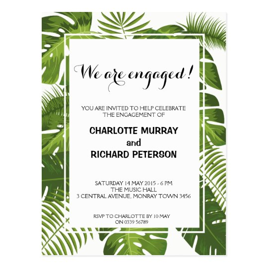 Tropical engagement party invitation postcard