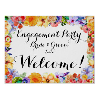 Tropical Engagement, Wedding Party Sign/Poster Poster