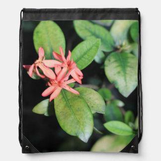 Tropical Exotic Coral Flower, Kew Drawstring Bag