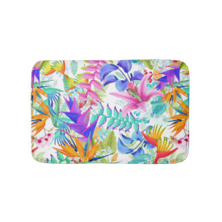 Tropical Exotic Flowers Bath Mat