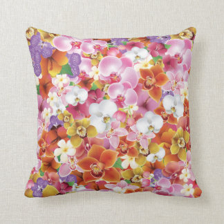 Tropical Exotic Flowers Print Floral Throw Pillow