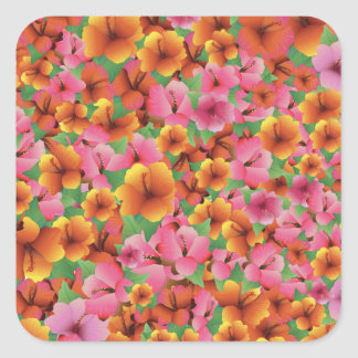 Tropical Exotic Hibiscus Flowers Floral Design Square Sticker