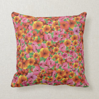 Tropical Exotic Hibiscus Flowers Throw Pillow