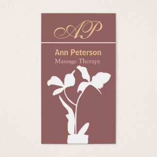 Tropical Exotic Orchid with Initials Monogram Business Card