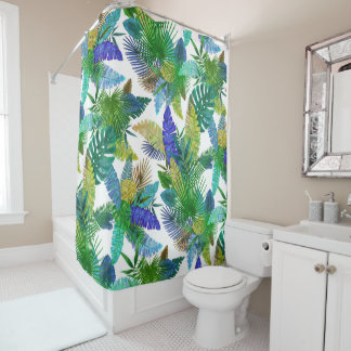 Tropical ferns, palm and banana leaves shower curtain