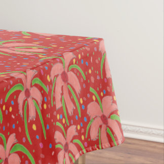 Tropical Fiesta Flowers on Red Tablecloth