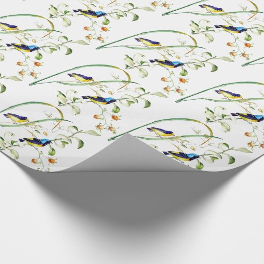 Tropical Finch Bird Wildlife Floral Wrapping Paper