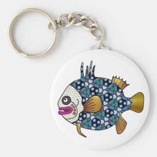 Tropical Fish 01 - Navy Blue & White Basic Round Button Key Ring