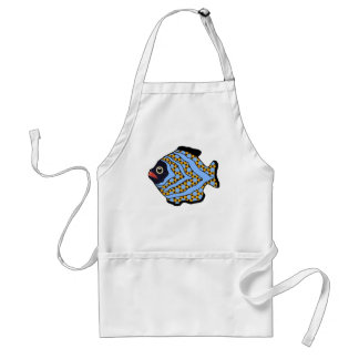 Tropical Fish-02 Blue and Gold Apron