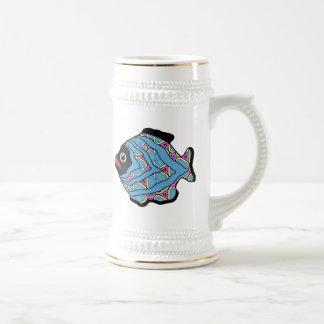 Tropical Fish-08  Blue & Shocking Pink Beer Steins