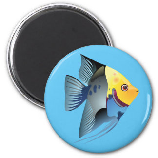 Tropical fish 6 cm round magnet