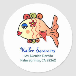 Tropical Fish Address Labels Round Sticker