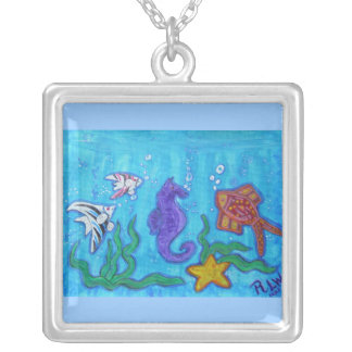 Tropical Fish and Fun Square Pendant Necklace