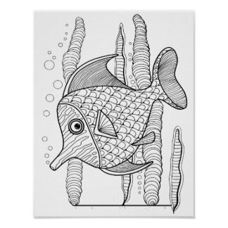 Tropical Fish Cardstock Adult Coloring Page Poster