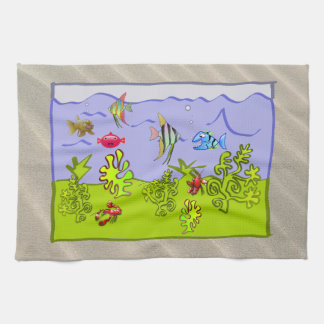 TROPICAL FISH, CLEAR OCEAN WATER SNORKELING VIEW TEA TOWEL